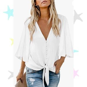 V-Neck Button Down 3/4 Bell Sleeve Chiffon Tie Knot Casual Blouse White Top